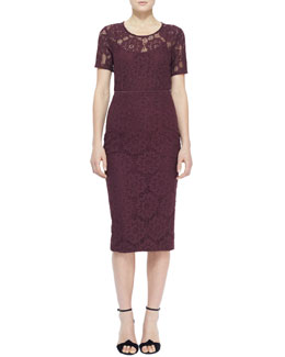 Burberry London Short-Sleeve Lace Top and Midi Lace Pencil Skirt