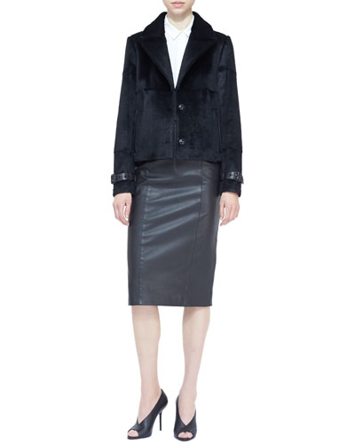 Burberry London Cropped Rabbit Fur Jacket, Sheer-Panel Blouse & Seamed Leather Pencil Skirt