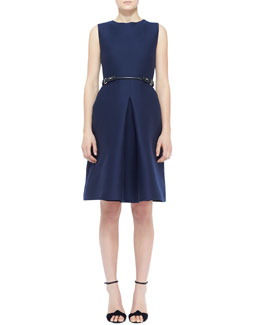 Burberry London Sleeveless Silk Front-Pleat Dress and Equestrian Leather Waist Belt