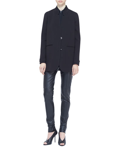 Burberry London Snap-Front Boyfriend Blazer, Sheer-Panel Blouse & Paneled Leather Leggings