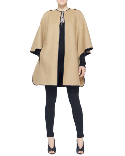 Burberry London Leather-Trim Cape Coat, Colorblock Cashmere Henley Top & Side-Stripe Leather Leggings