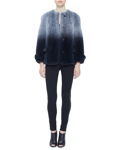 Burberry London Hand-Dipped Short Mink Coat and Side-Stripe Leather Leggings