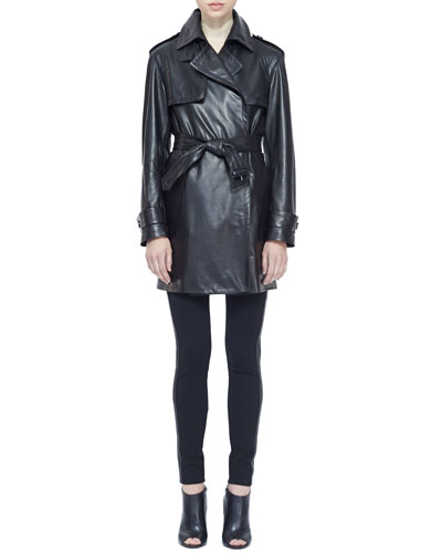 Burberry London Leather Wrap Trench Coat and Side-Stripe Leather Leggings