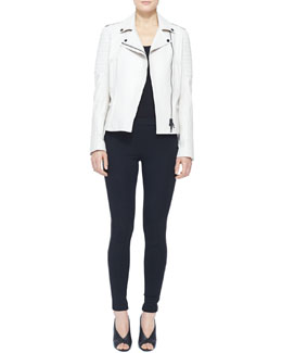 Burberry London Leather Moto Jacket and Side-Stripe Leather Leggings