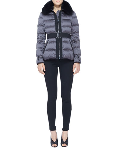 Burberry London Belted Fur-Collar Puffer Jacket and Side-Stripe Leather Leggings