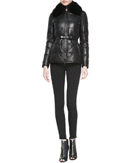 Burberry London Leather Fur-Collar Puffer Jacket and Side-Stripe Leather Leggings