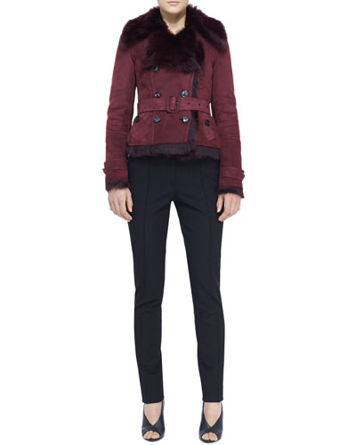 Burberry London Belted Shearling-Lined Jacket and Creased Straight-Leg Pants