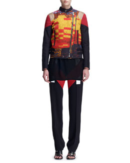 Givenchy Mosaic Double-Zip Moto Jacket and V-Panel Colorblock Trousers