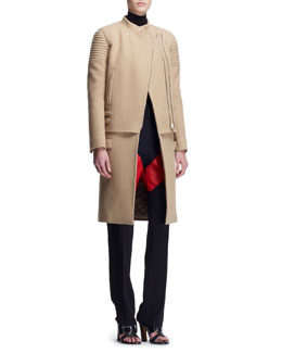 Givenchy Double-Zip Long Moto Coat, Inlay Jersey Turtleneck & V-Panel Colorblock Trousers