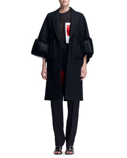 Givenchy 3/4-Sleeve Fur-Cuff Coat, Sheer Snap-Pocket Tee & V-Panel Colorblock Trousers