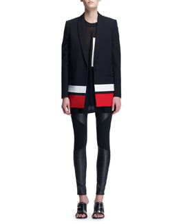 Givenchy Striped-Border Boyfriend Jacket, Sheer Oversized Snap-Pocket Tee & Leather-Paneled Punto Milano Leggings