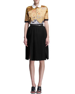Givenchy Mosaic-Print Pique Polo Shirt and Zipper-Waist Accordion Skirt