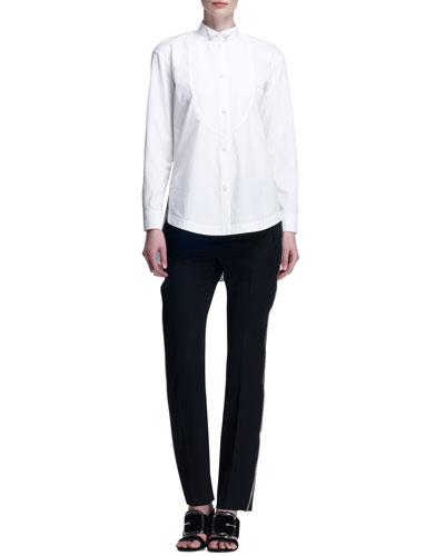 Poplin Tuxedo Bib Blouse and Side-Zipper Wool Pants