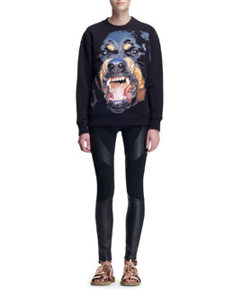 Givenchy Giant Rottweiler Crew Sweatshirt and Leather-Paneled Punto Milano Leggings