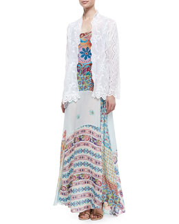 Johnny Was Collection Jagger Mixed-Design Voile Cover Up & Gypsy Silk Mixed-Print Sleeveless Dress