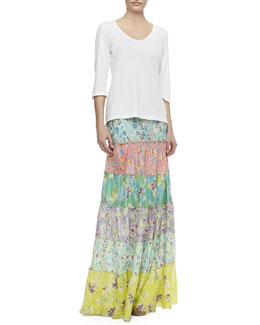 JWLA for Johnny Was 3/4-Sleeve V-Neck Tee & Tropical Silk Tiered Maxi Skirt