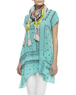 Johnny Was Collection Biscotti Printed-Georgette Scarf & Bandana Georgette Short-Sleeve Tunic