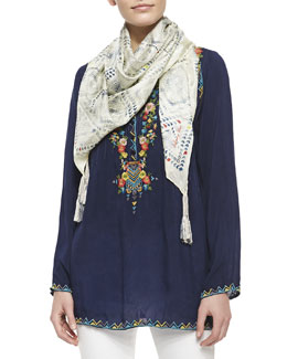 Johnny Was Collection Embroidered Georgette Tunic & Silk Mini-Checker Print Scarf