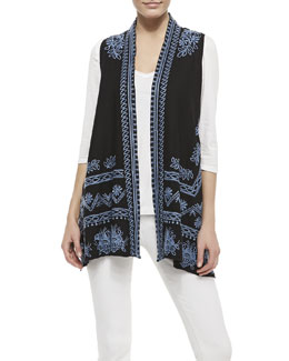 JWLA for Johnny Was Linen Embroidered Long Vest & 3/4-Sleeve V-Neck Tee