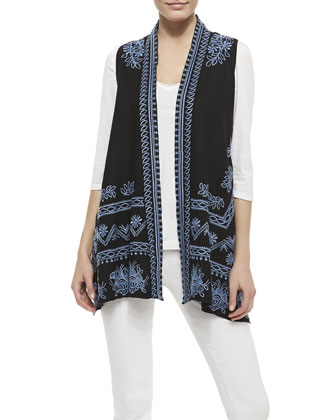 Linen Embroidered Long Vest & 3/4-Sleeve V-Neck Tee