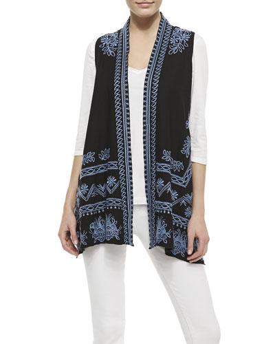 JWLA for Johnny Was Linen Embroidered Long Vest & 3/4-Sleeve V-Neck Tee, Women's