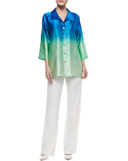 Caroline Rose Ombre Charmeuse Button-Front Shirt & Straight-Leg Knit Pants, Women's