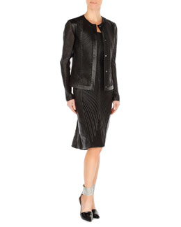 Arzu Kaprol Leather Soutache Cardigan Jacket & Strapless Leather Soutache Dress