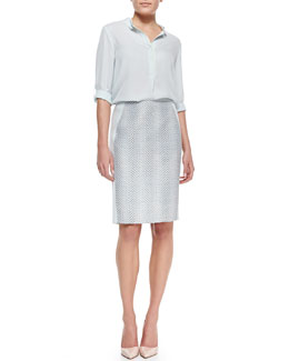 Elie Tahari Kasha Colorblock Silk Blouse & Kelsa Snake Jacquard Pencil Skirt