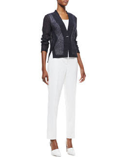 Elie Tahari Rebecca One-Button Linen Jacket & Jillian Slim Cropped Pants