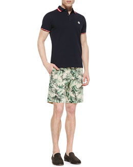 Moncler Pique Tipped  Polo & Twill Leaf-Print Shorts