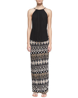 Joie Amarey Silk Sleeveless Tank Top & Loni Ikat-Print Maxi Skirt