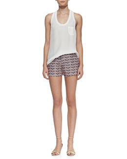 Joie Alicia Racerback Pocket Tank & Merci Printed Flax Shorts