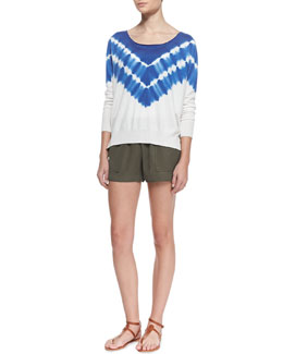 Joie Emari Tie-Dye Sweater & Beso Jersey  Shorts, Fatigue