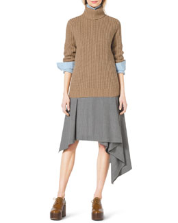 Michael Kors  Fisherman's Chunky-Rib Turtleneck, Classic Stretch-Cotton Button Shirt & Asymmetric Draped Stretch-Wool Skirt