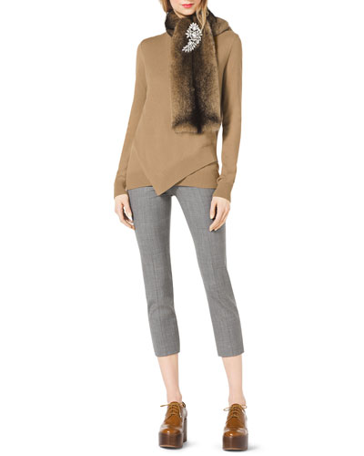 Michael Kors  Layered Asymmetric Sweater, Mink Scarf, Crystal Brooch, Contour Cigarette Pants, & Charlene Strappy Sandal