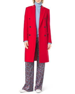 Michael Kors  Double-Breasted Wool Coat, Long-Sleeve Turtleneck, Paisley-Print Silk Pants & Natasia Three-Tone Naked Sandal
