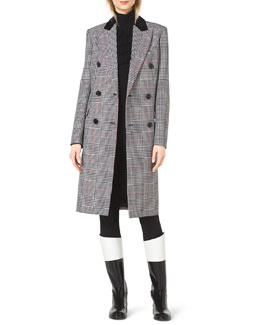 Michael Kors  Plaid Double-Breasted Wool Coat, Ruffle-Front Wool Turtleneck & Stretch-Twill Zipper Riding Pants