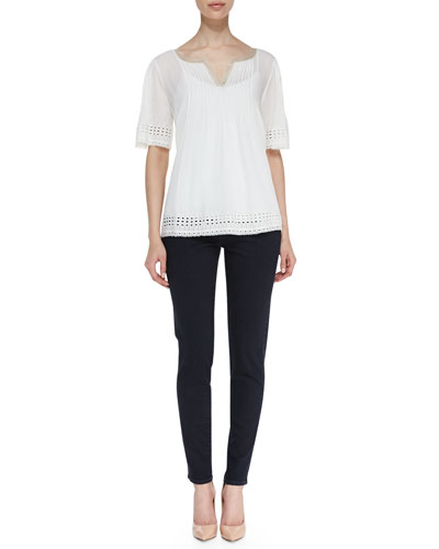 Elie Tahari Short-Sleeve Eyelet-Trim Blouse & Azella Cropped Skinny Jeans