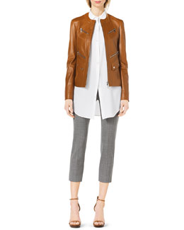 Michael Kors  Leather Moto Zip-Front Jacket & Long-Sleeve Silk Blouse