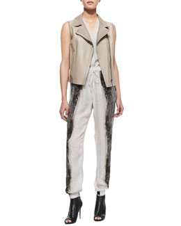 Elie Tahari Katie Sleeveless Moto-Style Faux-Leather Vest, Hayden Sleeveless Shawl-Collar Blouse & Emmy Horizon-Print Silk Pants