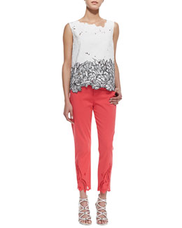 Elie Tahari Roony Sleeveless Outlined Lace Top & Mona Eyelet Ankle Jeans