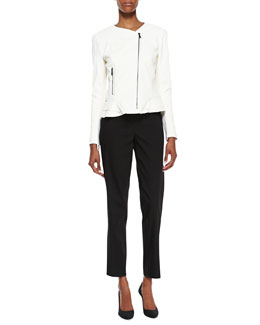 Elie Tahari Erin Silk Peplum Moto Jacket & Jillian Slim Cropped Pants