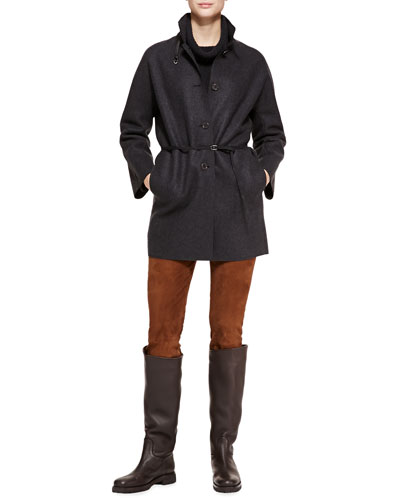 Spencer Belted Cashmere Coat, Tunica Textured Cashmere Cowl-Neck Sweater & Ethan Stretch-Suede Slim Pants