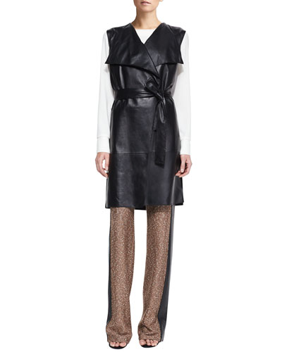 St. John Collection Milano Knit Vest with Leather, Jewel-Neck Blouse with Cuffs & Tweed Knit Wide-Leg Pants