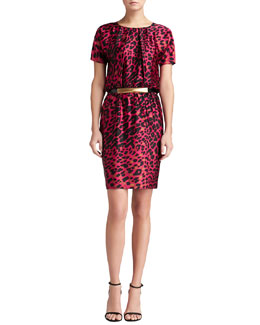 St. John Collection Short-Sleeve Leopard Silk Dress & Medium Leather Hip Belt