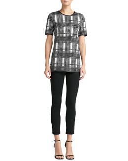 St. John Collection Short-Sleeve Plaid Knit Jewel-Neck Top & Milano Knit Alexa Slim Ankle Pants