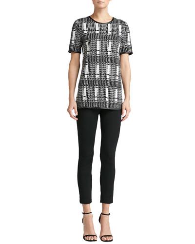 St. John Collection Short-Sleeve Plaid Knit Jewel-Neck Top & Milano Knit Alexa Slim Ankle Pants
