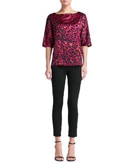St. John Collection Leopard-Print Silk Blouse & Milano Knit Alexa Slim Ankle Pants