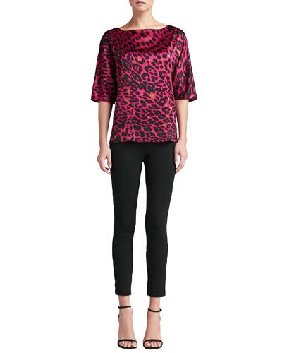 St. John Collection Leopard-Print Silk Blouse & Milano Knit Alexa Slim Ankle Pants