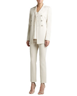St. John Collection Knit Double-Breasted Jacket, Knit V-Neck Tunic Shell & Stretch Knit Cropped Pants